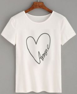 White Heart Letters Print T-shirt ZK01