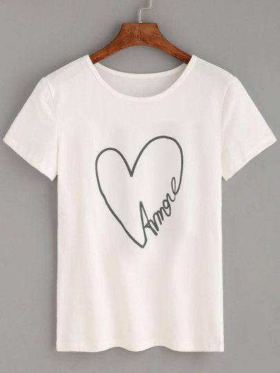 White Heart Letters Print T-shirt ZK01