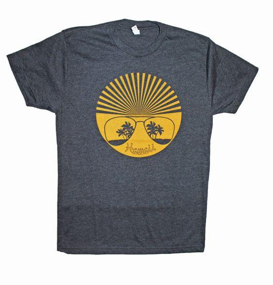 Men's Retro Hawaii Sun Tshirt ZL4M0